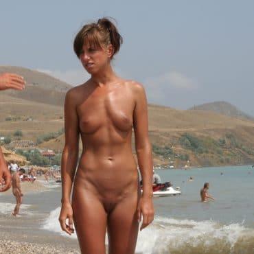 braune Muschi am Strand